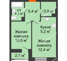 1 комнатная квартира 42,8 м² в ЖК Октава, дом №3 - планировка