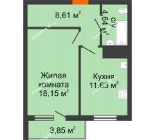 1 комнатная квартира 46,97 м², ЖК Дом у Самолета - планировка