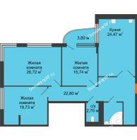 Студия 121,4 м², Жилой дом на ул. Платонова, 9,11 - планировка