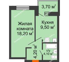 1 комнатная квартира 39,7 м², ЖК Zапад (Запад) - планировка