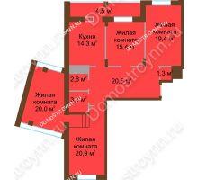 4 комнатная квартира 122,5 м² в ЖК Монолит, дом № 89, корп. 1, 2 - планировка