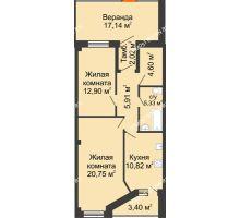 2 комнатная квартира 81,17 м² в ЖК Дом на Провиантской, дом № 12 - планировка
