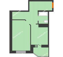 1 комнатная квартира 45,6 м² в ЖК Ромашково, дом Позиция 2 - планировка