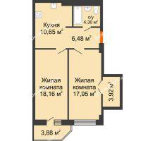 2 комнатная квартира 63,4 м² в ЖК Кристалл, дом Литер 2 - планировка