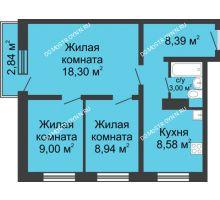 3 комнатная квартира 57,06 м² в ЖК Корабли, дом № 6 - планировка