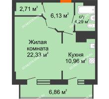 1 комнатная квартира 53,28 м² в ЖК Покровский, дом № 1 - планировка