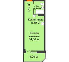 Студия 30,8 м² в ЖК Три Сквера (3 Сквера), дом № 31 - планировка