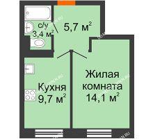 1 комнатная квартира 32,9 м² в ЖК Жюль Верн, дом № 1 корпус 2 - планировка