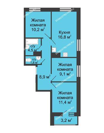 3 комнатная квартира 63,3 м² в ЖК Цветы, дом № 10