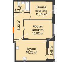 2 комнатная квартира 60,08 м², ЖК КМ Флагман - планировка