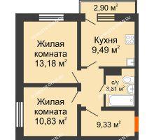 2 комнатная квартира 46,64 м² в ЖК Торпедо, дом № 18 - планировка
