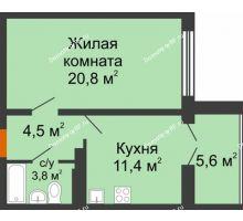 1 комнатная квартира 42,2 м² в ЖК Крымский квартал, дом позиция 1 - планировка