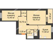 2 комнатная квартира 65,25 м² в ЖК Корица, дом № 1 - планировка