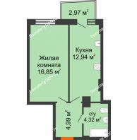 1 комнатная квартира 39,82 м² в ЖК Сердце Ростова 2, дом Литер 8 - планировка