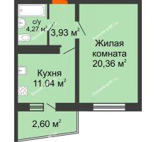 1 комнатная квартира 42,2 м² в ЖК Мой город, дом Литер 3 - планировка