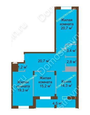 3 комнатная квартира 102,1 м² в ЖК Монолит, дом № 89, корп. 1, 2