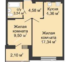 2 комнатная квартира 39,67 м² в ЖК Соловьиная роща, дом № 3 - планировка