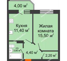 1 комнатная квартира 41,3 м² в ЖК Звездный-2, дом № 4 - планировка