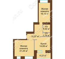 2 комнатная квартира 70,51 м² в ЖК Солнечный город, дом на участке № 214