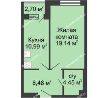 1 комнатная квартира 45,76 м², ЖК Вдохновение - планировка