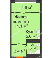 Студия 26,8 м² в ЖК Новая Кузнечиха, дом № 31 - планировка