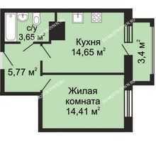 1 комнатная квартира 41,18 м², ЖК Гелиос - планировка