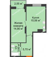 1 комнатная квартира 41,81 м² в ЖК Рассвет, дом № 10 - планировка