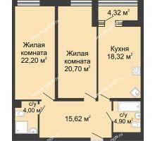 2 комнатная квартира 87,9 м², ЖК Бристоль - планировка