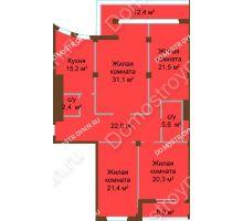 4 комнатная квартира 149,1 м², ЖК Бояр Палас - планировка