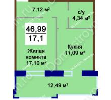 1 комнатная квартира 46,99 м², Жилой дом Приокский - планировка