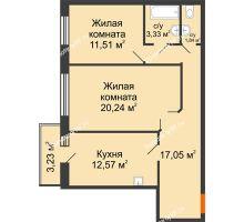 2 комнатная квартира 66,54 м² в ЖК Бограда 109, дом № 2 - планировка