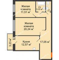 2 комнатная квартира 67,51 м² в ЖК Бограда, дом № 2 - планировка
