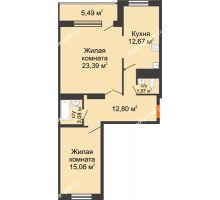 2 комнатная квартира 74,36 м², ЖК Новая Тверская - планировка