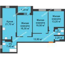 3 комнатная квартира 98,4 м² в ЖК Подкова на Цветочной, дом № 8 - планировка
