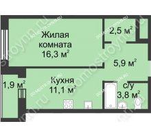 1 комнатная квартира 41,5 м² - ЖК Дом на Иванова