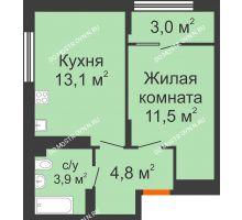 1 комнатная квартира 36,3 м² в ЖК Новая Кузнечиха, дом № 31 - планировка