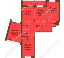 4 комнатная квартира 123,1 м² в ЖК Монолит, дом № 89, корп. 1, 2 - планировка