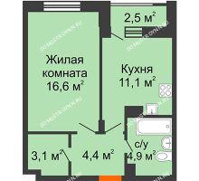 1 комнатная квартира 41,35 м² в ЖК Октава, дом №7 - планировка