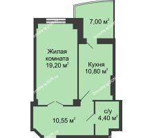 1 комнатная квартира 48,45 м² в ЖК Новый Город, дом № 3 - планировка