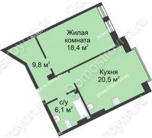 1 комнатная квартира 55 м² в ЖК Славянский квартал, дом № 188 - планировка