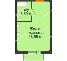 Студия 22,76 м² в ЖК Лайм, дом № 1 - планировка
