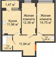 2 комнатная квартира 58,03 м² в ЖК Суворов-Сити, дом 1 очередь секция 6-13 - планировка