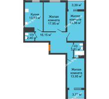 3 комнатная квартира 87,76 м², ЖК Дом у Самолета - планировка