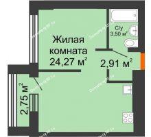 1 комнатная квартира 35,73 м² в ЖК Речной порт, дом № 6 - планировка