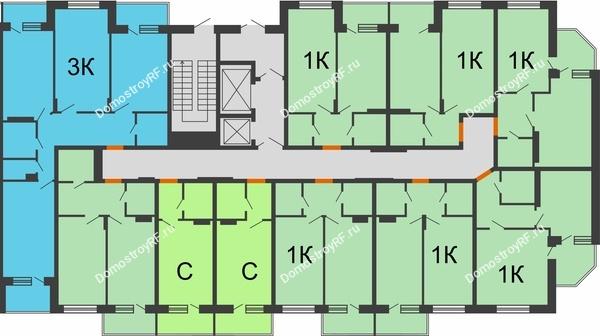 Планировка 14 этажа в доме 2 позиция 5-8 секция в ЖК Мандарин