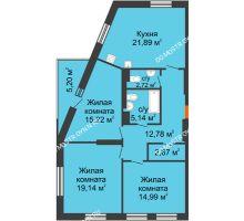 3 комнатная квартира 96,11 м², ЖК На Высоте - планировка