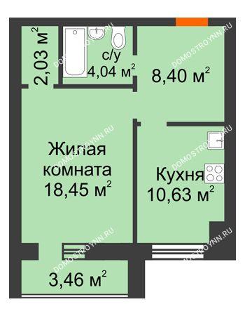 1 комнатная квартира 45,28 м² в ЖК Парк Горького, дом 62/18, № 6