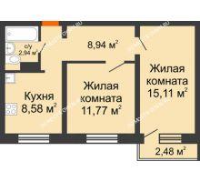 2 комнатная квартира 48,08 м² в ЖК Торпедо, дом № 18 - планировка