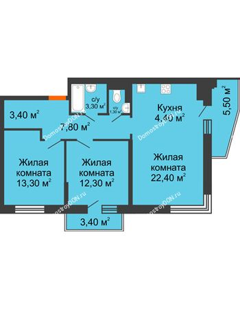 3 комнатная квартира 72 м² в ЖК Династия, дом Литер 2