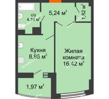 1 комнатная квартира 38,6 м² в ЖК Университетский 137, дом Секция С1 - планировка